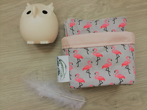 Lot de 10 lingettes lavables, petits flamants rose