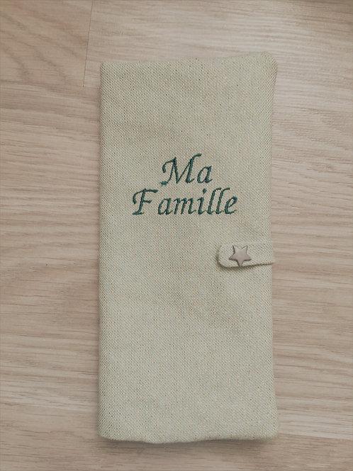 Protège livret de famille vert pailleté