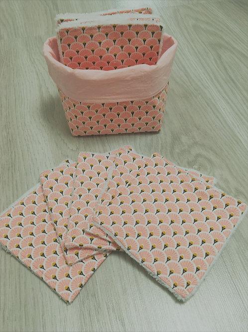 Lingettes lavables avec panière