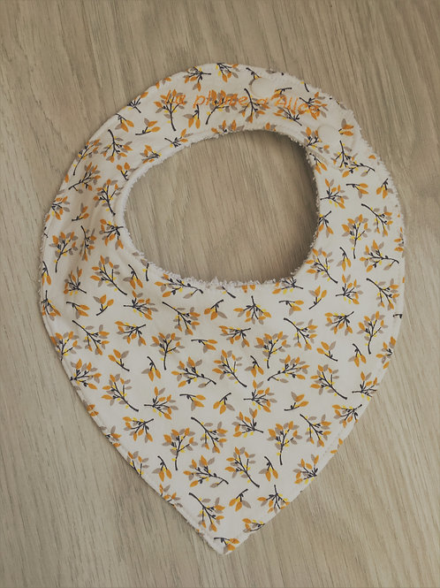 Bavoir bandana fleurs jaune