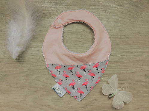 Bavoir bandana, petits flamants rose