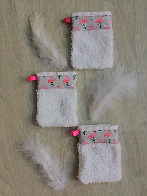 Lot de 3 gants de toilettes pour enfants flamants roses