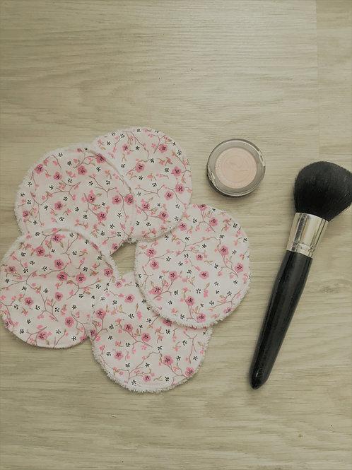 Disques démaquillants fleurs rose