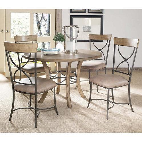 Hillsdale - Charleston 5 Piece Round Desert Tan Wood Dining Set w/ X-Back Chairs