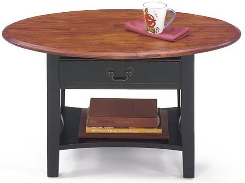 Petite Oval Cocktail Table and Square Base with Single Drawer and Bottom Shelf