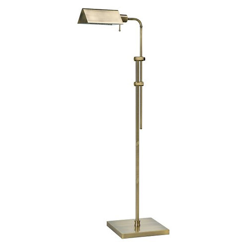 Antique Brass Pharmacy Floor Lamp with Triangle Shade