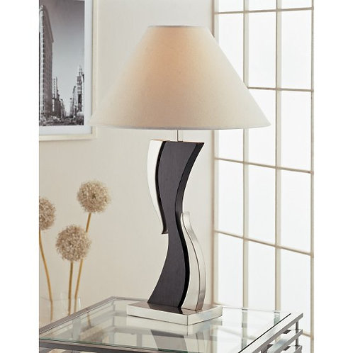 Mikel Cappuccino and Sand Chrome Table Lamp