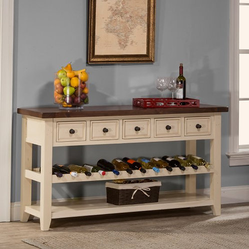 Hillsdale - Tuscan Retreat Wine Rack Hall Table with 5 Drawers