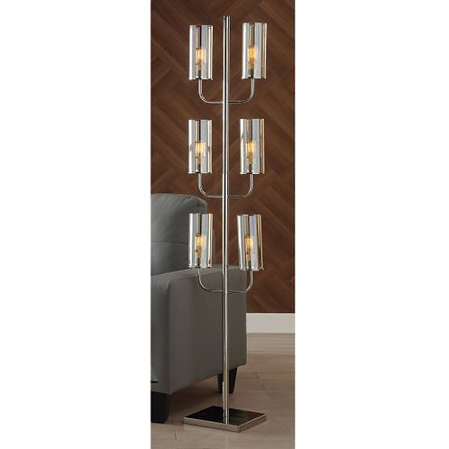 Nickel Floor Lamp with Glass Shades