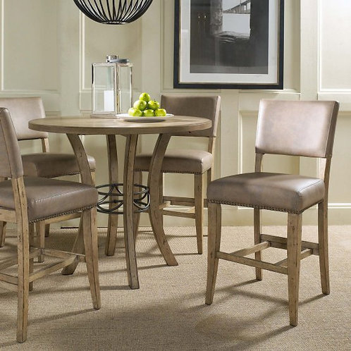 Hillsdale - Charleston 5 Piece Round Wood Counter Height Set with Parson Chairs