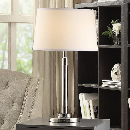 Nickel and Smoke Glass Table Lamp (Set of 2)