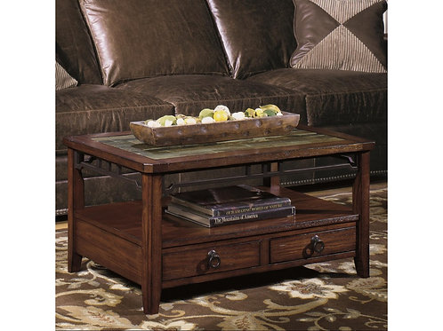 Rectangular Cocktail Table with Inset Stone Top