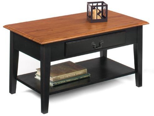 Rectangular Cocktail Table with Single Drawer and Bottom Shelf