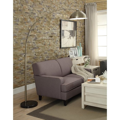 White Ribbed Arc Floor Lamp