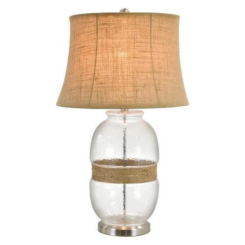 Glass Table Lamp with Jute Twine