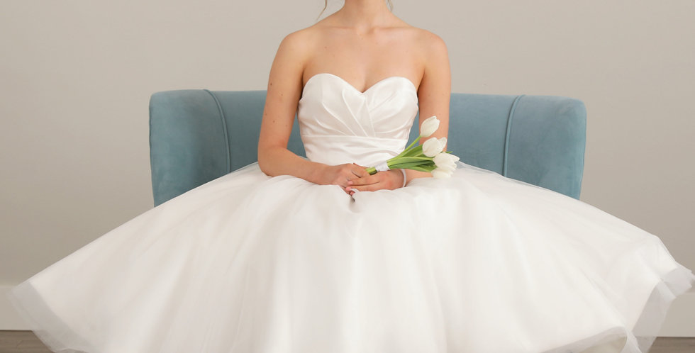 Odessa Tea Length Wedding Dress from French Knot Couture