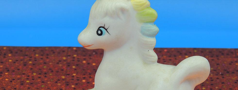 Vintage Tiny Bisque Unicorn, Pastel mane, gold horn, unbranded unicorn