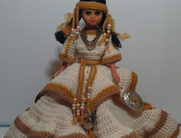 Bed Doll - Native American with Cream, Tan and Beaded Dress