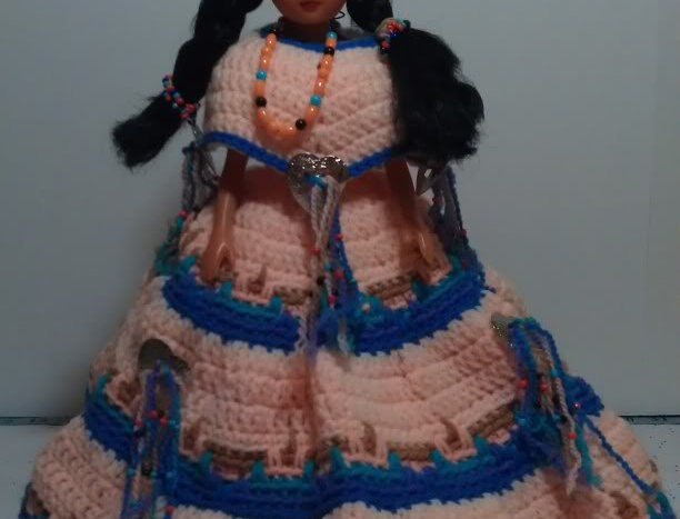 Bed Doll - Native American with Peach, Blue and Beaded Dress