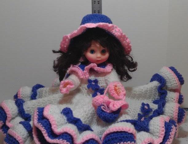 Bed Doll - Brunette with White, Pink and Purple Dress
