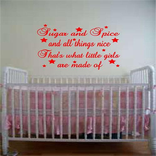 Sugar & Spice Girls nursery room Wall Decal