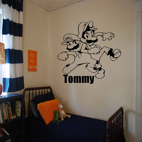Super Mario Bros With Custom Name Wall Decal
