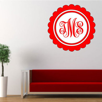 Circle Monogram with Decorative Frame Wall Decal