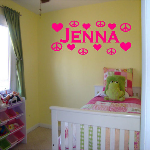 Peace & Heart Wall Decal with Custom Name