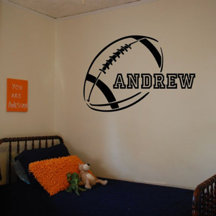 Football With Personalized Name Wall Decal