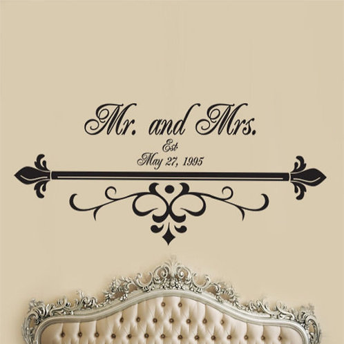 Mr & Mrs Est. Wall Decal