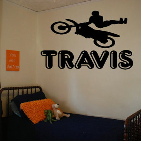 Motocross Rider With Personalized Name Wall Decal