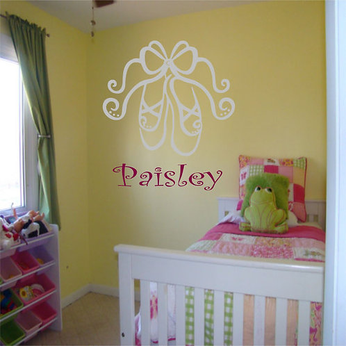 Ballet Slippers With Custom Name Wall Decal