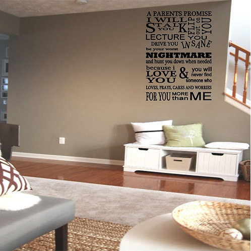 A Parent's Promise Wall Decal