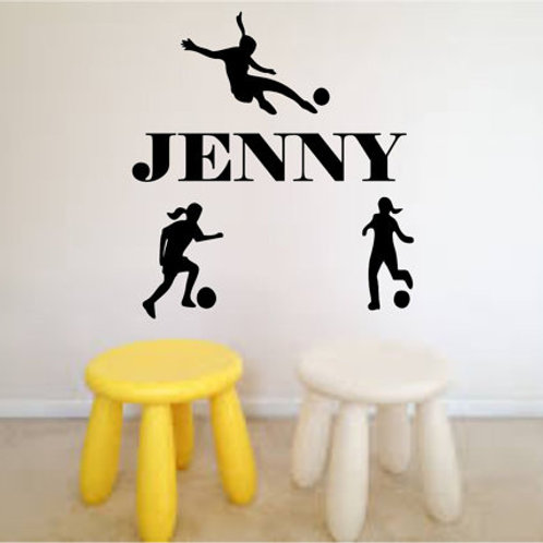 Girls Playing Soccer with Personalized Name Wall Decal