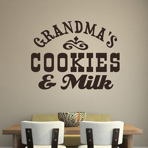 Grandma's Cookies and Milk Wall Decal