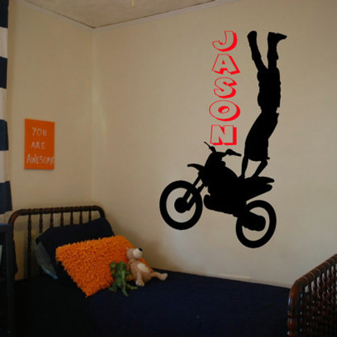 Motocross Rider with 3D name wall decal