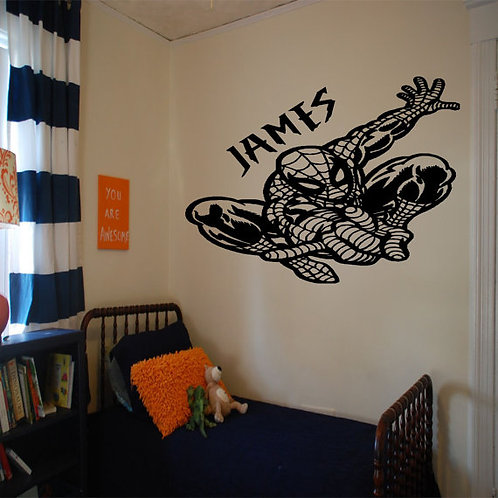 Spider man With Custom Name Wall Decal