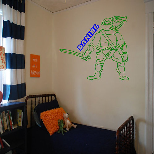 Teenage Mutant Ninja Turtles with Custom Name Wall Decal
