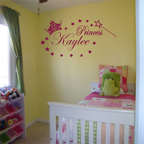 Princess With Custom Name Wall Decal