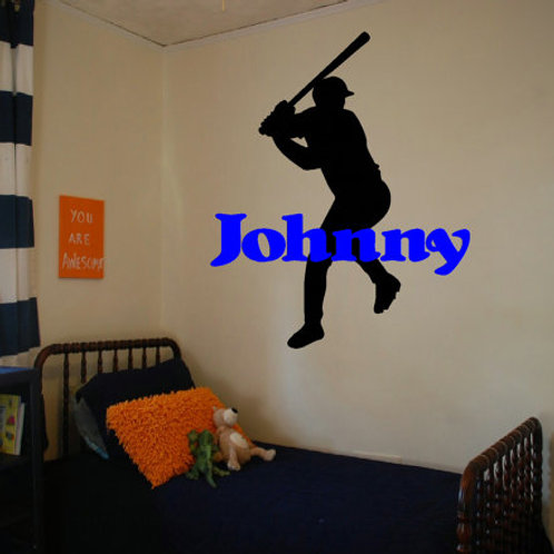 Baseball Player with Custom Name Wall Decal