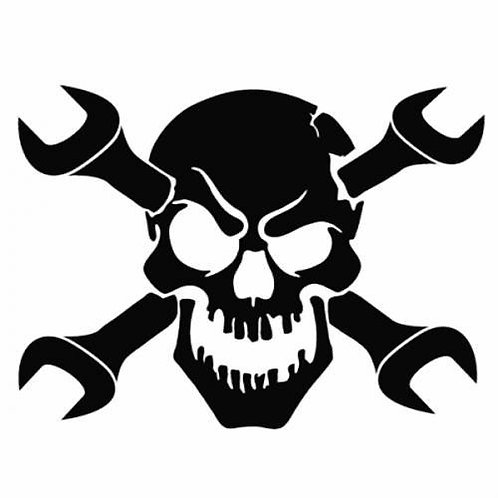 Skull With Wrenches Car Decal