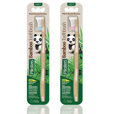 Piksters Bamboo Adult SOFT Toothbrush Plant Based Bristles