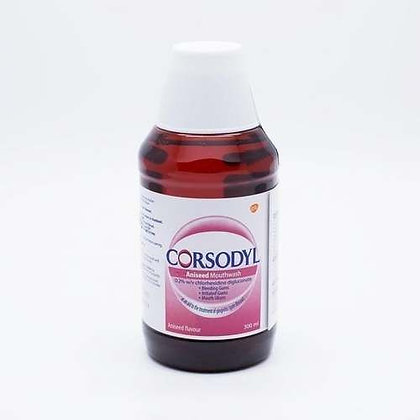 Corsodyl Gum Disease Treatment Mouthwash Chlorhexidine 0.2% Aniseed 300ml