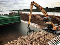 Mv Scot Leader loading pulpwood for Scotland