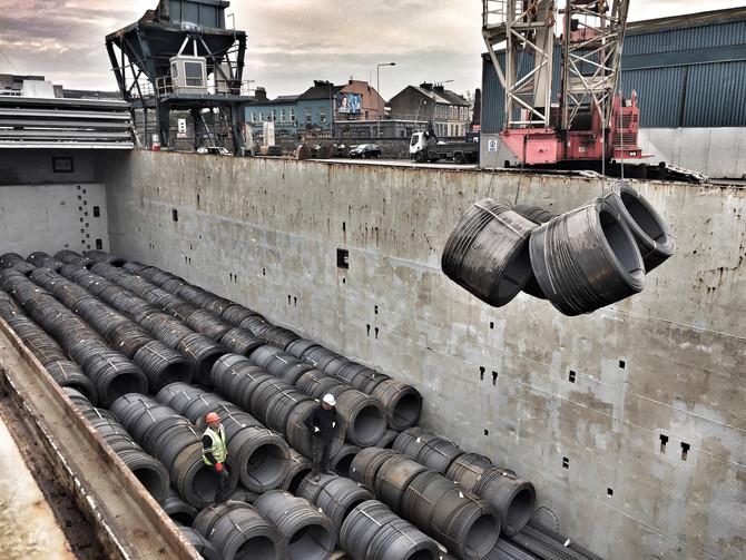 MV Tjonger discharging wire rod in Limerick