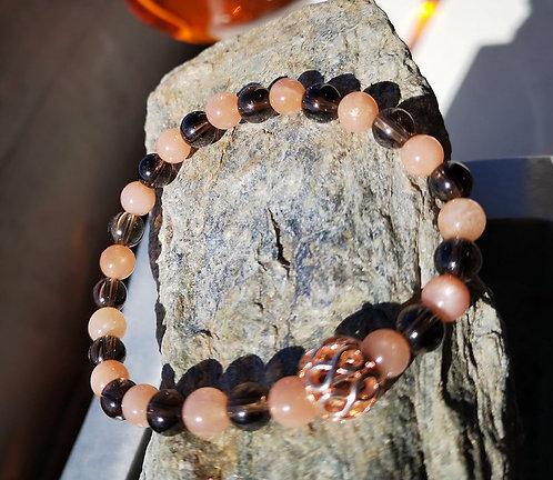 Bracelet en quartz fumé et pierre de soleil