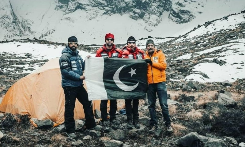 The four-member Pakistani team that successfully completed the Annapurna expedition