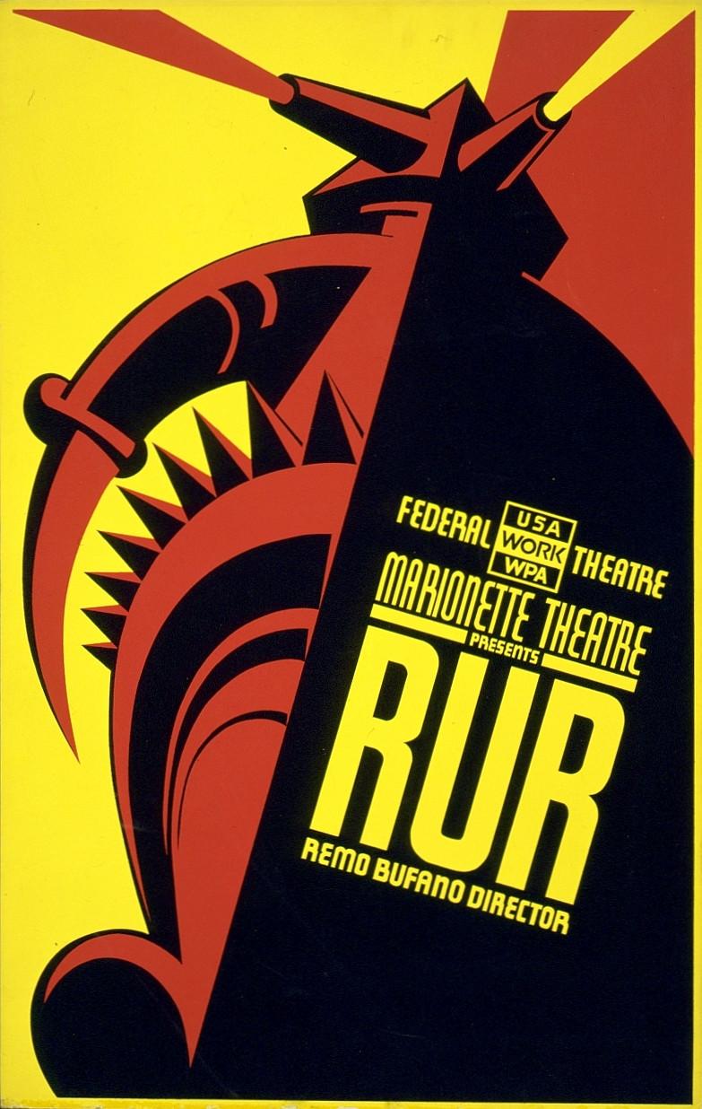 R.U.R. theatrical poster, 1939 via Wikimedia