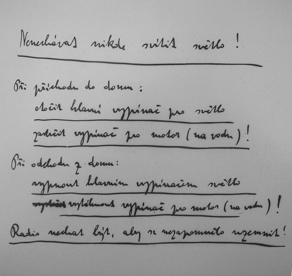 Čapek's handwriting by Jarba via Wikimedia