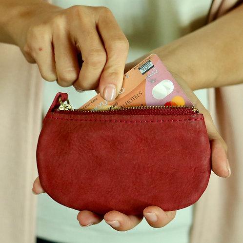 手のひらに収まるレザーコンパクト財布(キーチェーン付き)【Red】